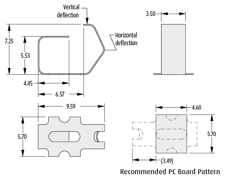 2901-16 PCB spring contact technical drawing
