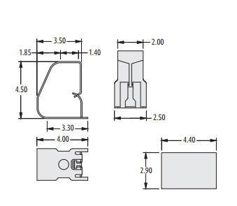 2901-11 PCB spring contact technical drawing