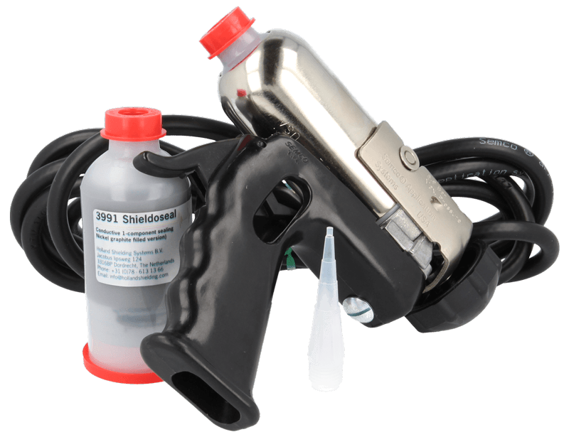 Nickel graphite filled conductive 1-component sealing can be supplied with a sealant gun to easily handle the product