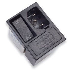 Netzfilter mit integriertem 2-poligem Schalter und 2 Sicherungen