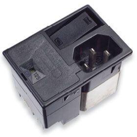 Netzfilter mit integriertem 2-poligem Schalter, 2 Sicherungen und einem 4-Wege-Spannungswähler