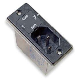 Netzfilter mit 2 Sicherungen und einem 2-Wege-Spannungswähler